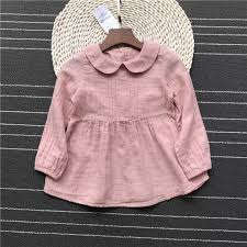 pink country style gauze cotton long sleeve dress little girls