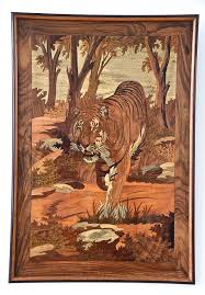 deco wood inlay panel with tiger 1930 at 1stdibs