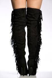s boots with fringe black faux suede fringe detail thigh high boots cicihot boots