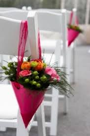 picture of ideas of chair decor with pretty floral swags and posies