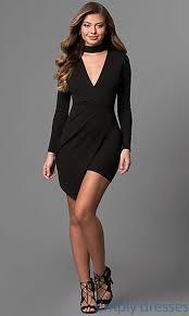 long sleeve short party dress with asymmetrical hem