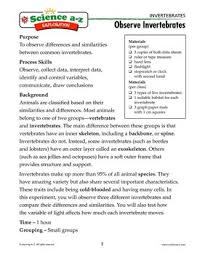 science a z invertebrates grades 3 4 life science unit