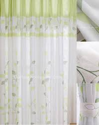 Elegant White Bedroom Curtains Interior Elegant White Curtains With Green Leaves Bring Soothing