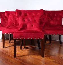 Ebth Set Of Six Red Velvet Dining Chairs Ebth