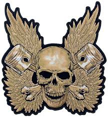 skull pistons with wings patch skull back patches