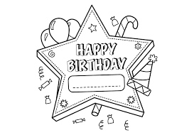 happy birthday coloring pages for girls with flower coloringstar