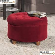 traditional classic round ottoman burgundy tufted button lid top