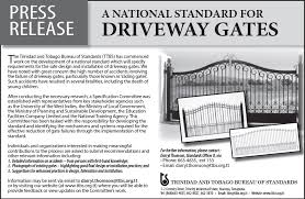 bureau standard press release a national standard for driveway gates