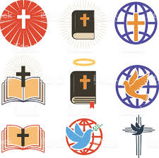 set of church emblems templates cross and dove holy bible stock