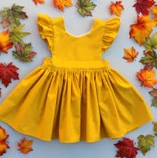 infant thanksgiving cora pinafore dress in mustard for baby toddler little long