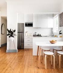 Galley Kitchen Peninsula Kitchen Contemporary With Small Living