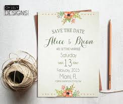 rustic save the date rustic save the date printable save the date floral save the