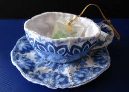 dd 2 s fabric tea cup ornament elkins