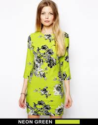 asos floral shift dress in green lyst