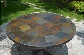 63 u0027 u0027 round slate outdoor patio dining table stone oceane
