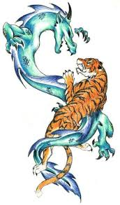 pencilwork blue dragon and orange tiger tattoo design
