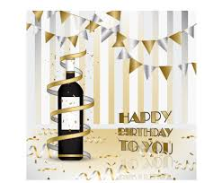 wine with happy birthday card vector vector birthday vector