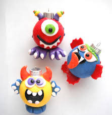 ornaments little monsters handmade glass polymer clay