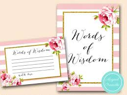 words of wisdom bridal shower bs11 words of wisdom 6x4 pink floral bridal shower bridal