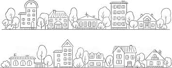 a pencil drawing of a street with houses stock vector art