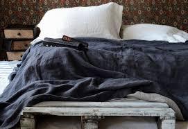 peppercorn dark grey heavy weight linen bed cover linen throw