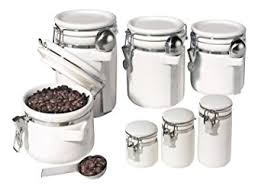 oggi kitchen canisters oggi 7 ceramic airtight canister set white