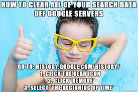 Search History Meme - how to clear google severs remove all of your search history