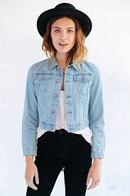 light blue cropped jean jacket bdg cropped denim trucker jacket where to buy how to wear