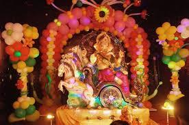 Home Balloon Decoration Ganpati Decoration Ideas At Home Ganesh Pooja Decoration Pooja