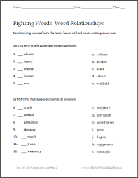 Resume Antonym Collection Of Solutions Synonyms And Antonyms Worksheets Pdf With