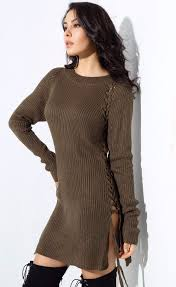 khaki tie up jumper dress