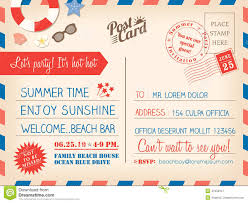 Christmas Invitation Cards Template Vintage Summer Holiday Postcard Background Template For Invitati