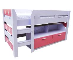 FoxHunter MDF Kids FT Mid Sleeper Cabin Bunk Bed Wooden With Book - Mid sleeper bunk bed
