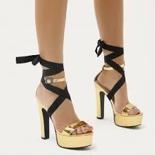 ribbon heels malta lace up ribbon platform heels in gold mirror desire
