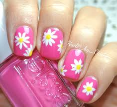 pink daisy nails pretty summer nail art fresh color for
