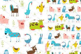 cartoon farm animal seamless pattern patterns creative market