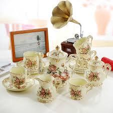 porcelain coffee set ivory porcelain flowers design outline in