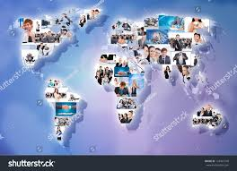 Map International Business Concept Collage Businesspeople World Map Stock Photo