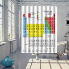 Curtain With Hooks 70 70inch Periodic Table Of Elements Chemistry Waterproof Shower