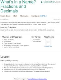 what u0027s in a name fractions and decimals lesson plan education com