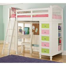 mini white desk with shelves blended with colorful loft bed in