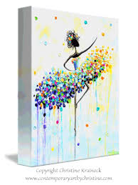 Wall Decor Canvas Giclee Print Art Abstract Dancer Painting Aqua Blue Canvas Prints