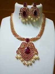 pearl ruby necklace images Imitation ruby pearl necklace south india jewels jpg