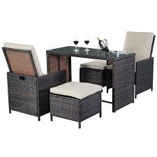 Rattan Patio Table And Chairs 5pcs Brown Cushioned Ottoman Rattan Patio Set Outdoor Furniture