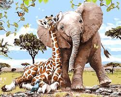 giraffe elephant family animals oil painting room decor painting