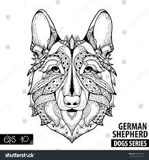 german shepherd coloring pages free royalty free zentangle stylized cartoon of german u2026 449020525