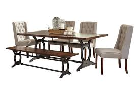 laurel dining table 4 side chairs bench