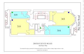 fire escape floor plan 200 bay state road housing boston university