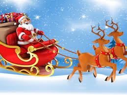 christmas postcard santa claus in a sleigh with gifts reindeer