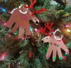 12 days of christmas crafts u2013 day 2 u2013 handprint reindeer ornaments